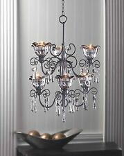 Black Iron and Smoky Glass Bi-Level Hanging Tealight Candle Chandelier
