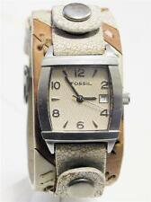 Unisex Fossil Silver Tone Watch with Wide Leather Band MUSTC