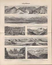 Lithografie 1893: Gebirgsbildungen. Gebirge Geologie Geografie Fels Stein
