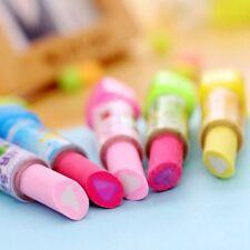 2Stk Hübsche Geschenk Lippenstift Rubber Bleistift Radiergummi Büro Schreibwaren