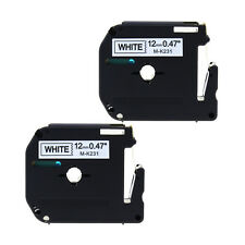 2x M-K231 MK231 Black/White Compatible Brother P-touch Label 12mm Tape PT65 PT85