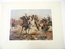 Large western lithograph print artist sign Death to Long Knives by Grandee