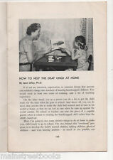 Deaf Child at Home HOW to help Instruction Booklet c1949 Lipreading Jean Utley