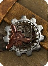 Large Gear PROPELLER PIN Steampunk Costume Zinc Alloy Brass Brooch