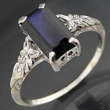 Old Vintage Lg Size 2ct+ Natural SAPPHIRE 18ct WHITE GOLD RING Val=$4325 Sz S1/2