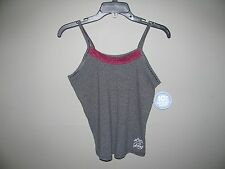 NWT Women's Life is Good Sweatheart Stretch Camisole Heather Gray M Lace Accent