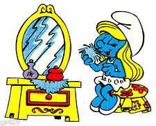 "3"" SMURFS SMURFETTE MIRROR VINTAGE  PREPASTED WALL  BORDER CUT OUT CHARACTER"