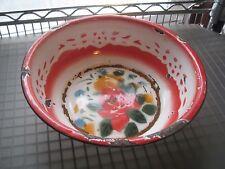 Large Floral Enamelware Wash Basin or Bowl