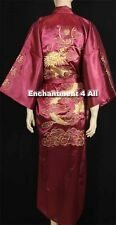 EMBROIDERED DRAGON DESIGN DOUBLE HAPPINESS SILK KIMONO ROBE W WAIST TIE BURGUNDY