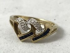 Natural Sapphire & Diamond Double Heart 10K Yellow Gold Ring Size 7