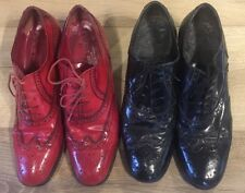 Two Pairs Vintage Stephane Kelian Heeled Brogues Shoes Red/Black 7.5/41 Slim/AA
