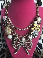 Betsey Johnson Vintage Checkered Button Bear Cat Fish Belly Pearl Bow Necklace