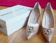 New Manolo Blahnik gold jacquard crystal buckle shoes, sz 41.5 / US 11.5, $1895