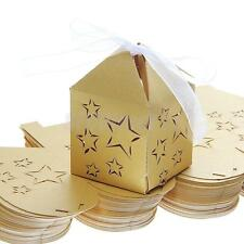 50pcs Xmas Baby Shower Wedding Party Favors Candy Gift Boxes + Ribbons Gold