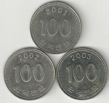 3 DIFFERENT 100 WON COINS from SOUTH KOREA (2001, 2002 & 2003)