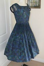 Vintage 1950s Dress Blues/Purples and Green