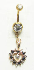 Belly Ring  Heart Genuine Sapphire  Diamond in 14K Gold over 925 Sterling Silver