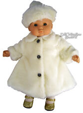 "White Fur Winter Coat & Tam made for 15"" Bitty Baby + Twins Doll Clothes"