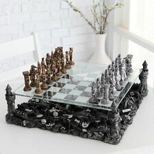 Knight Pewter Chess Glass Board 3D Game Set Hobbie Table Play Gift Medieval