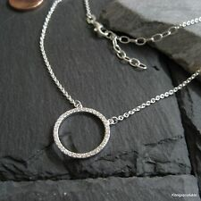Circle of Life collana con zirconi occupato, 925er Argento, L 42+5 CM, col-hk18
