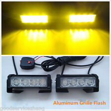 2x 4 LED Aluminum Grille Strobe Emergency Flash Warning Light Grille Hazard Lamp