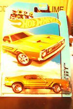 Hot Wheels 1971 Ford Mustang Mach One Yellow Gold Black & Orange Stripes 2013