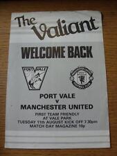 11/08/1981 PORT VALE V MANCHESTER UNITED [ amichevole ] quattro pagine (piegato)