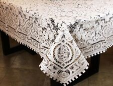"""Super Embroidered FULL Cutwork Tablecloth 72x90"""" 108"""" 126"""" 144"""" & Napkins"""