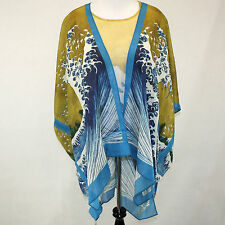 NWT Cocoon House Wearable Art Great Waves 100% Silk Artisan Jacket Kimono L/Xl