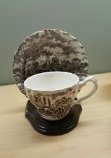 Myott Staffordshire Tea Cup And Saucer Set ,Royal Mail Brown and Ivory