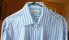 Faconnable Blue Teal Green & Taupe Pinstriped Dress Shirt, Size L, 16 1/2
