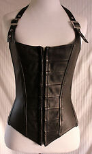 Genuine Black Leather Hand Made Laced Buckle Strap Boned Corset sz M