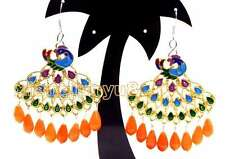 SALE 40mm Multicolor Peafowl Pendant with Pink drop coral dangle earring-ea417