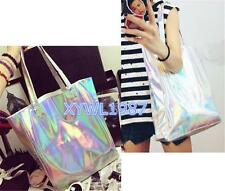 Trendy Hologram Metallic Silver Shopping Bag Shoulder Tote Handbag Gammaray New