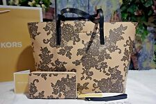 NWT MICHAEL KORS LACE EMERY LG TZ Leather Tote BAG+WALLET/Wristlet OYSTER $546