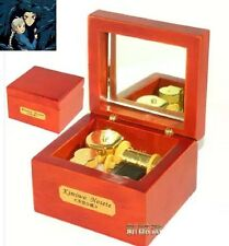 Red Wood Wind Up Gold Movement Mirror Music Box :Ghibli Howl's Moving Castle