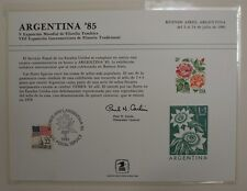 souvenir card PS 58 Argentina 1985 1978 15¢ Rose stamp Show cancelled