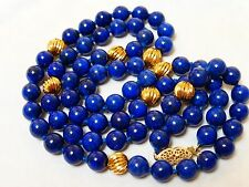 CHINESE VINTAGE 14k gold beads and clasp NATURAL BLUE LAPIS 7mm BEAD NECKLACE