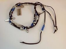 NWT Uno de 50 Silvertone/Leather/Multi Color Beads Choker Necklace 14""