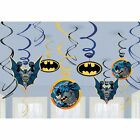 (12) BATMAN HANGING SWIRL DECORATIONS Birthday Party Supplies Superhero Foil New