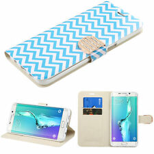 BLUE WHITE WAVE WALLET DIAMOND SKIN COVE CASE For Samsung Galaxy S6 Edge+ Plus
