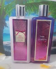 bath and body works pink confetti pear cassis body lotion shower gel set