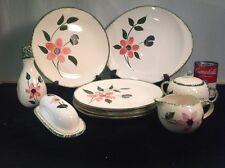 Vintage Blue Ridge Southern Potteries Pink Flower 13 Pieces