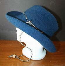 VTG HELLY HANSEN Winter Cowboy Hat NM USA Dark Blue Acrylic