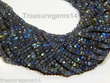 "3-4 MM 100% NATURAL BLUE MULTI FIRE LABRADORITE FACETED RONDELLE BEAD 13"" STRAND"