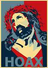 JESUS HOAX obamicon atheist funny large Decal / Sticker by FAITHLESS MORTAL