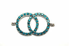 4pc Infinity Blue Rhinestone Bracelet Connector Charm 1-3 day Shipping
