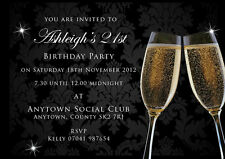 Birthday invitations 18th 21st 30th Black champagne with envelopes