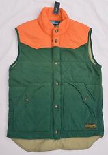 New Medium M POLO RALPH LAUREN Mens quilted fleece vest Green orange Gilet