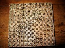 Antique Copper Metal  Textile Fabric Paper Printer Block Stamp Intricate Design